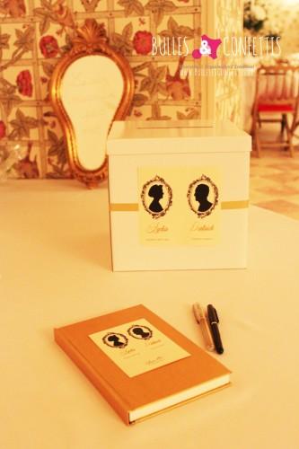 Urne et livre d'or mariage chic dans château